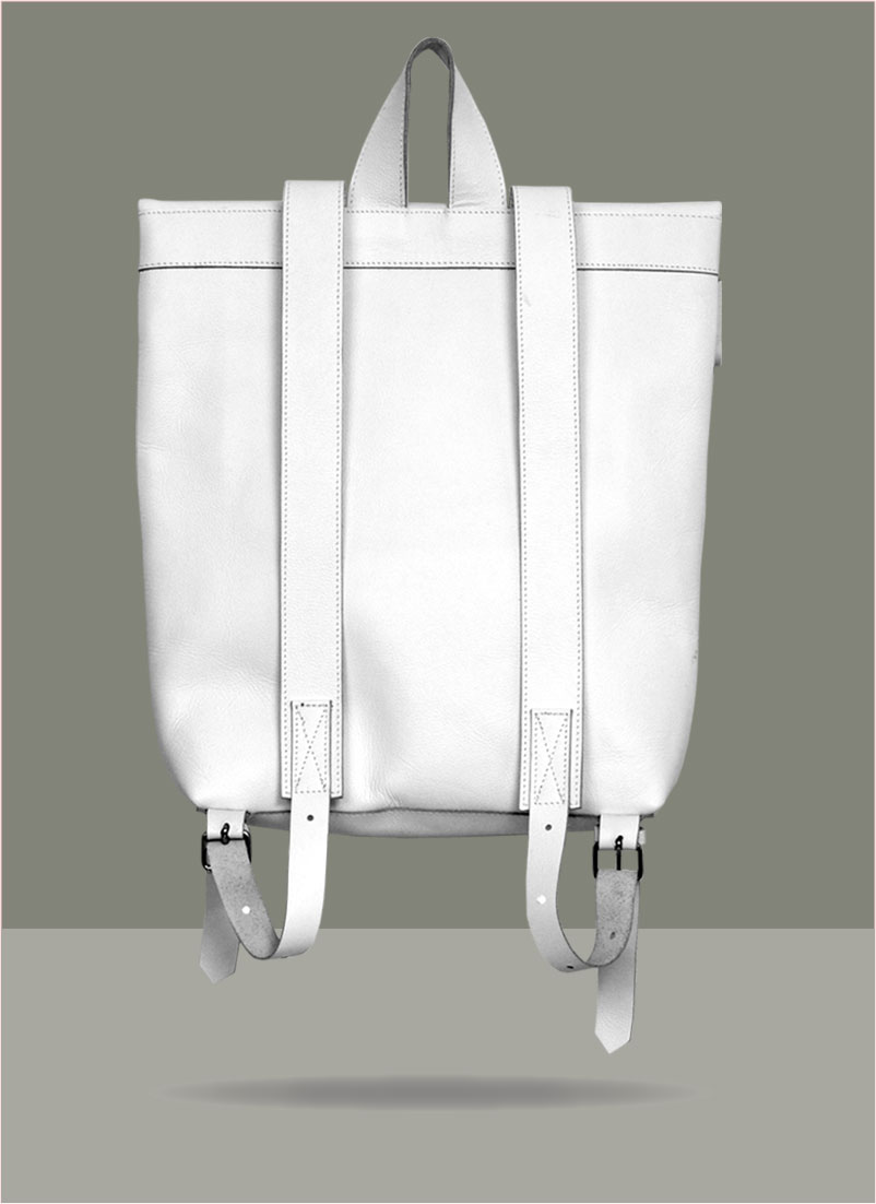 Rollitbag White Leather Double Back